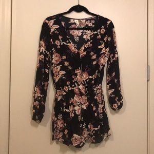 Beautiful black and pink floral romper